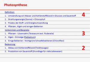 Karteikarte über Photosynthese - Rückseite